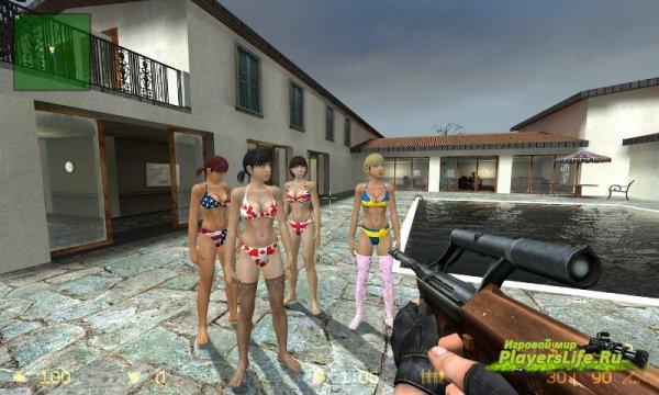 Модель девушек в бикини в виде заложников для CSS