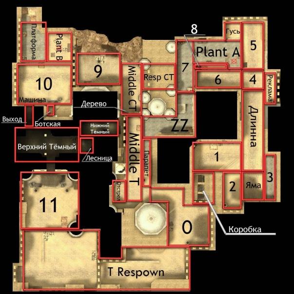 Обозначения на карте de_dust2 в CS Source