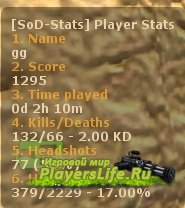 Плагин для подсчета статистики - SoD Player Stats v.1.0.11 для SourceMod