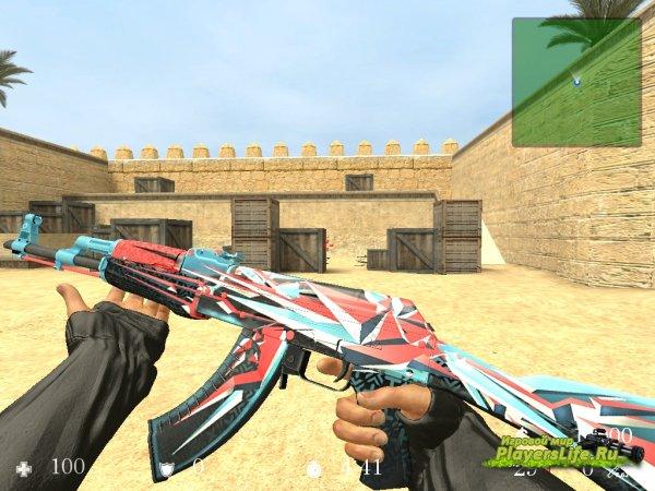 Модель AK-47 Буйство Красок + Анимация осмотра из CS:GO